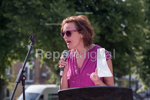 Madeleine Holt, Rescue Our Schools speaking to a Camden NUT rally to oppose cuts to school funding, Kentish Town, London. - Philip Wolmuth - 2017-07-04