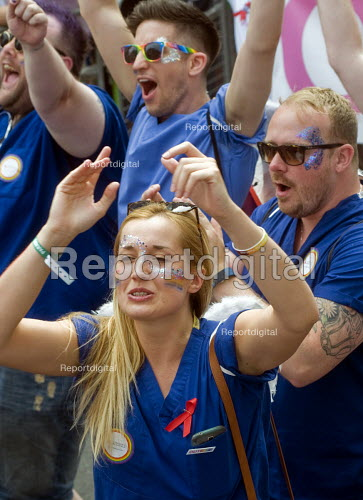 Pride 2017. Celebrating NHS workers join Gay Pride celebration and march London - Stefano Cagnoni - 2017-07-08