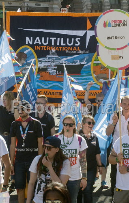 Pride 2017. RMT & Nautilus trade union members at Gay Pride celebration and march London - Stefano Cagnoni - 2017-07-08