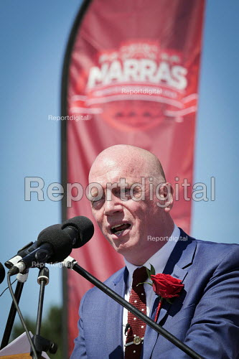 Matt Wrack FBU speaking, Durham Miners Gala, Durham 2017 - Mark Pinder - 2017-07-08