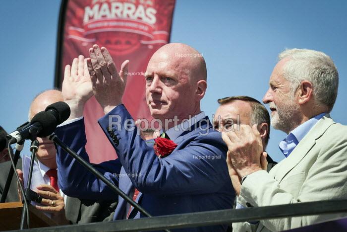 Matt Wrack FBU and Jeremy Corbyn, Durham Miners Gala, Durham 2017 - Mark Pinder - 2017-07-08