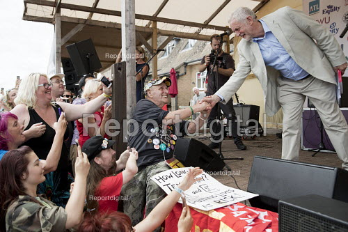 Jeremy Corbyn shaking hands with supporters, Tolpuddle Martyrs Festival, Dorset - Jess Hurd - 2017-07-16