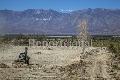 Coachella Valley, California, USA, Constructing wetlands to remediate and suppress the rising dust from the receding shoreline of the Salton Sea. The project is on the reservation of the Torrez Martinez Indian tribe - David Bacon - 2017-08-16