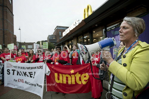 Louise Regan NUT NEU speaking, McDonalds workers strike, Crayford, South East London. Fast Food Rights Campaign want 10 pounds an hour, end to zero hour contracts and union rights - Jess Hurd - 2017-09-04