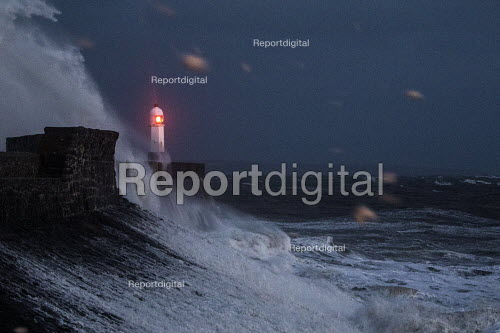 Waves from Storm Ophelia smashing into lighthouse and seawall, Porthcawl, South Wales - Paul Box - 2017-10-16