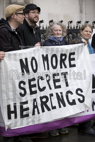 Jenny Jones, Green Party, Protest against Police anonymity at The Public Inquiry into Undercover Policing, Royal Courts of Justice, London. The Campaign Opposing Police Surveillance publicises and supports the quest for justice for people affected by political undercover police spying and to ensure such abuses do not continue. - Jess Hurd - 2017-11-20