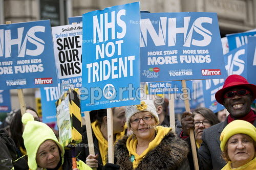 NHS in Crisis - Fix it now protest organised by the Peoples Assembly and Health Campaigns Together, Central London. CND NHS Not Trident - Jess Hurd - 2018-02-03