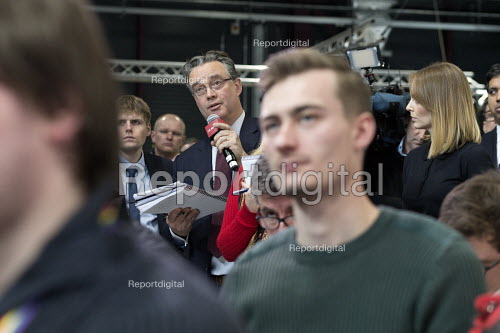 Gary Gibbon Political Editor Channel 4 News asking a question, Labour Party Jobs First Brexit speech, Coventry University Technology Park - John Harris - 2018-02-26