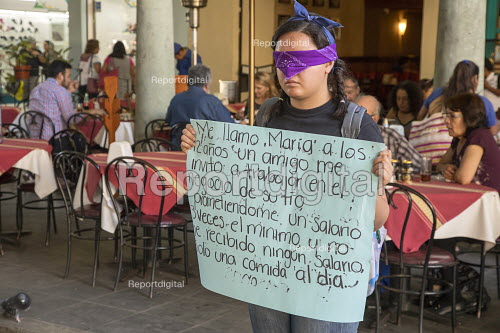 Mexico, Blindfolded women protesting against the sexual exploitation of Minors, Central Square, Oaxaca - Jim West - 2018-02-24