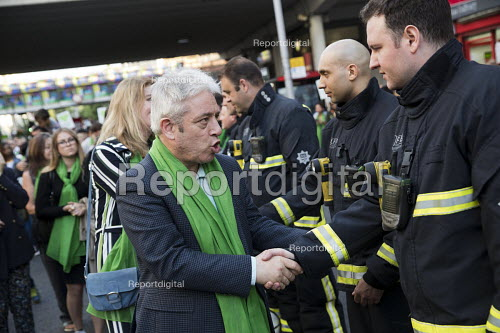 John Bercow, Speaker of the House thanking the firefighters. Silent march in memory of the victims of Grenfell Tower fire on the first anniversary, Kensington, London - Jess Hurd - 2018-06-14