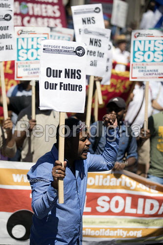 Refugee Rights campaigner, NHS 70th Anniversary protest - free, for all, forever, London - Jess Hurd - 2018-06-30