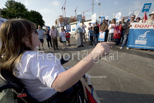 Unions and Keep Our NHS Public NHS 70th anniversary protest outside the unfinished Midland Metropolitan Hospital, construction of which stopped when Carillion went into liquidation. Jae Robinson, Unite Community Birmingham branch and Disabled People against the Cuts speaking - John Harris - 2018-07-05