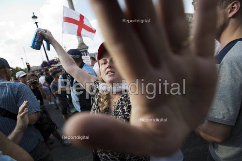 Pro Trump and Tommy Robinson supporters attack the media accusing them all of working for the BBC, Whitehall, London - Jess Hurd - 2018-07-14