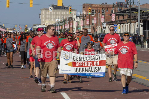 Detroit, Michigan USA Labor Day parade members of NewsGuild-CWA, Democracy depends on Journalism - Jim West - 2018-09-03
