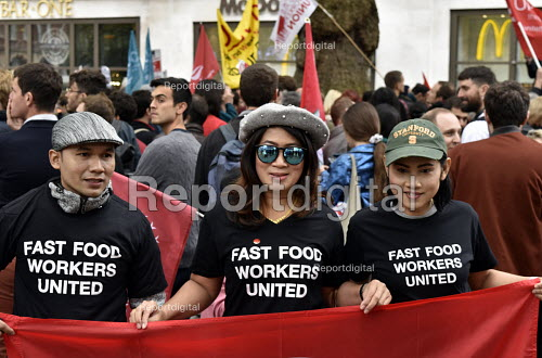 McDonald's, UberEats and Wetherspoon workers strike over low pay. Rally Leicester Square, London. Fast food workers united from USA - Stefano Cagnoni - 2018-10-04