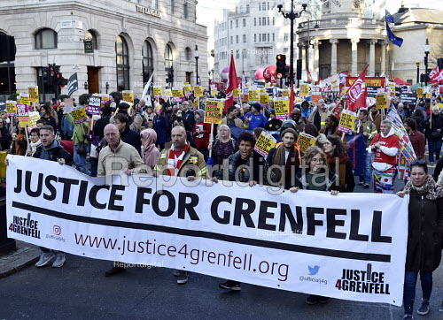 Stand Up To Racism protest London. Matt Wrack FBU with Justice For Grenfell campaigners - Stefano Cagnoni - 2018-11-17