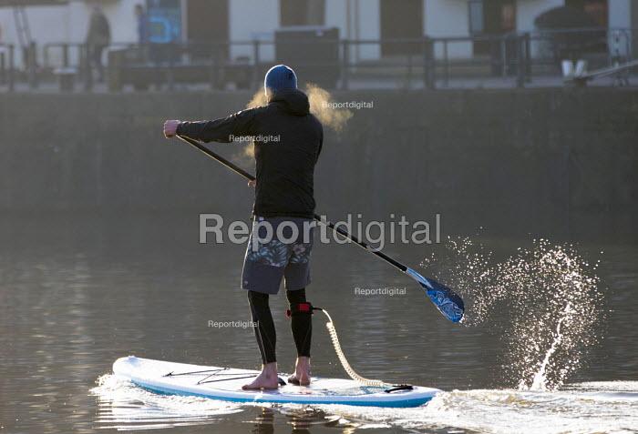 Stand up paddle boarding, Bristol docks - Paul Box - 2018-03-21