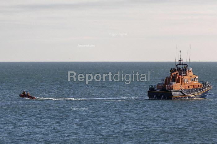 RNLI Dover on patrol, Fokestone, Kent. Launching an inflatable boat - Jess Hurd - 2019-01-01