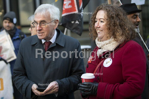 John McDonnel, Fran Heathcote PCS strike, BEIS, London by outsourced cleaners, receptionists and security for a London Living Wage, sick pay and annual leaveve. - Jess Hurd - 2019-01-22