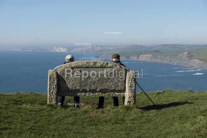 Elderly walkers resting, The Isle of Purbeck peninsula, Dorset - John Harris - 2019-02-14