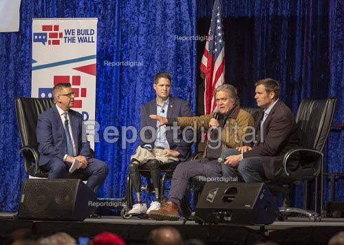 Detroit, Michigan, USA: We Build the Wall Rally, Steve Bannon speaking to promote construction of a Mexican border wall. Kris Kobach (R), Brian Kolfage (L) who started a Go-FundMe page to raise funds to build the wall and Neal McCabe of One America News Network - Jim West - 2019-03-14