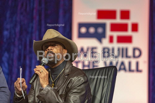 Detroit, Michigan, USA: We Build the Wall Rally, Former Milwaukee County Sheriff David Clarke speaking speaking to promote construction of a Mexican border wall - Jim West - 2019-03-14