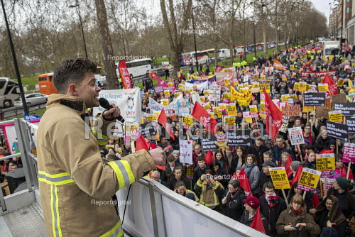 FBU speaker, Stand Up to Racism march and rally, London. UN Anti Racism Day - Jess Hurd - 2019-03-16