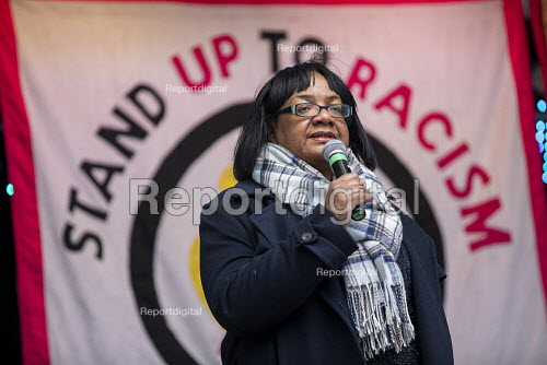 Diane Abbott MP speaking Stand Up to Racism march and rally, London. UN Anti Racism Day - Jess Hurd - 2019-03-16