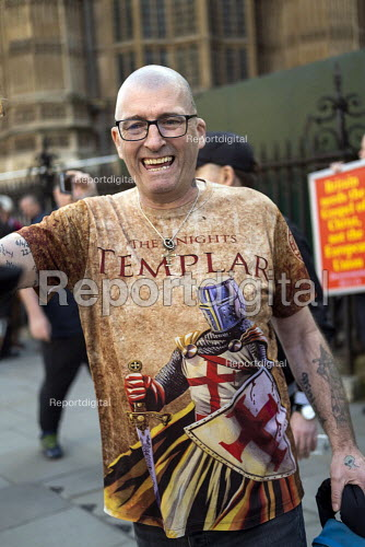 The Knights Templar T-shirt, Pro Brexit protests on the day the UK was meant to leave the EU, Westminster, London - Jess Hurd - 2019-03-29