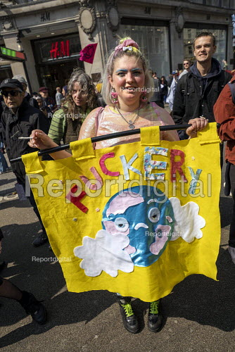 Fuckery banner, Extinction Rebellion protest Oxford Circus against lack of government action on climate change. Nonviolent direct action simultaneous blocking London - Jess Hurd - 2019-04-15