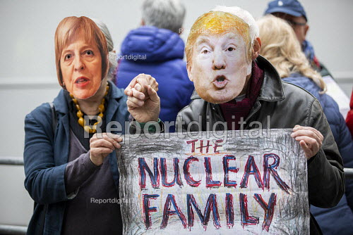 CND Anti nuclear war protest Westminster Abbey, London. 500 people took part in a CND protest and Christian CND vigil outside Westminster Abbey to oppose a thanksgiving service to mark 50 years of Britain's Continuous At Sea Nuclear Deterrent. The Nuclear Family - Jess Hurd - 2019-05-03