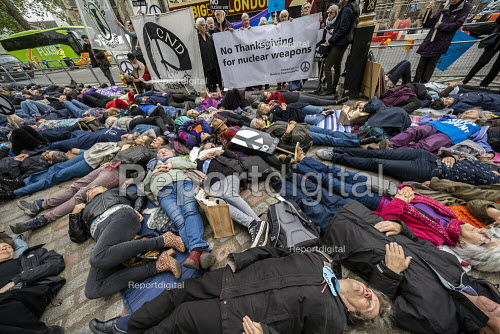 Die in, CND Anti nuclear war protest Westminster Abbey, London. 500 people took part in a CND protest and Christian CND vigil outside Westminster Abbey to oppose a thanksgiving service to mark 50 years of Britain's Continuous At Sea Nuclear Deterrent - Jess Hurd - 2019-05-03