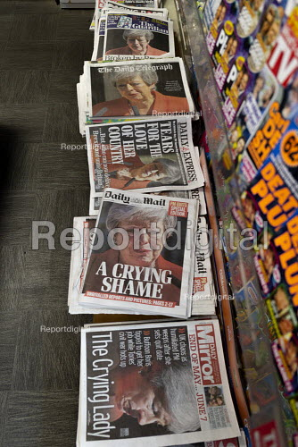 Newspaper headlines showing Theresa May crying as she announces her resignation - John Harris - 2019-05-25