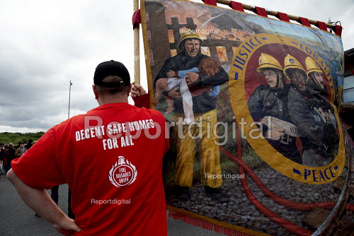 FBU, Decent SAFE Homes for All, Orgreave 35th Anniversary Rally, Orgreave, Sheffield, South Yorkshire - John Harris - 2019-06-15