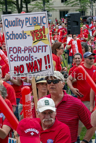 Lansing, Michigan USA: Teachers rally for education funding. NEA and the AFT trades union protest - Jim West - 2019-06-18