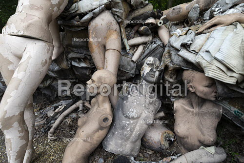 Dollywood mannequin recycling centre. Fire damaged figures. Mannakin refurbishes the mannequins for hire and resale so they do not go to landfill as waste, nr Grantham. The centre has around 10,000 dummies - John Harris - 2019-06-20