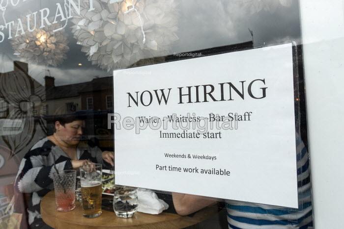 Now hiring, Waiter, Waitress, Bar Staff, Immediate Start, Part time work available sign in a restaurant window, Stratford upon Avon, Wawickshire - John Harris - 2019-07-04