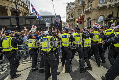 Scuffles with the police, Free Tommy Robinson protest, BBC Portland Place, London - Jess Hurd - 2019-08-03