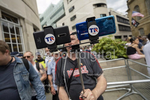 TR NEWS intimidating journalists covering Free Tommy Robinson protest, BBC Portland Place, London - Jess Hurd - 2019-08-03