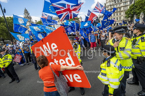 Stop The Coup protests for and against the government during the Brexit vote, Westminster, London. - Jess Hurd - 2019-09-03