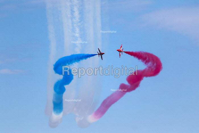 RAF Red Arrows display team performing, Torbay airshow, 2018 - Paul Box - 2018-06-03