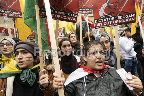 Stop the Turkish Invasion of Rojava protest, London. Kurdistan Solidarity Campaign Rise up for Rojava rally against against the war on Kurds in Syria - Jess Hurd - 2019-10-13