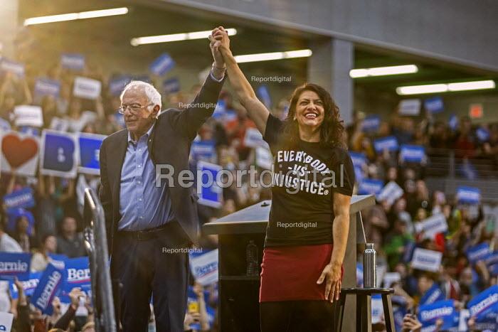 Detroit, Michigan, USA: Bernie Sanders, Rashida Tlaib, Presedential campaign rally 2020 - Jim West - 2019-10-27