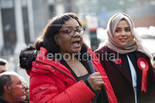 Apsana Begum General Election Labour Party campaign launch with Diane Abbott MP in Chrisp Street Market for Poplar and Limehouse constituency, East London. - Jess Hurd - 2019-11-09