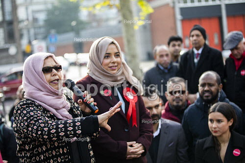 Apsana Begum General Election Labour Party campaign launch, Chrisp Street Market for Poplar and Limehouse constituency, East London. - Jess Hurd - 2019-11-09