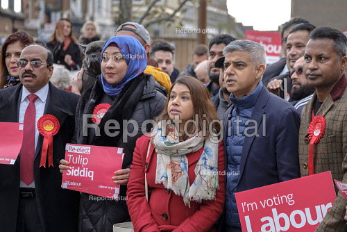 Sadiq Khan and Tulip Siddiq, Labour Party PPC for Hampstead and Kilburn, London Mayor Sadiq Khan and supporters gather for canvassing - Philip Wolmuth - 2019-11-16