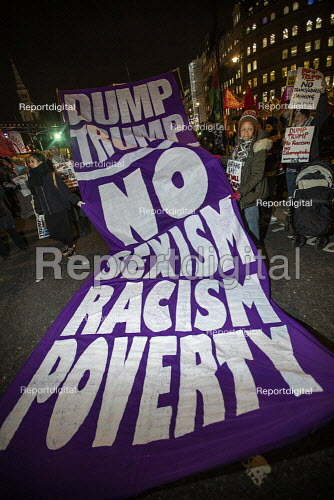 No Sexism, Racism, Poverty banner. No to Trump, No to NATO Protest London - Jess Hurd - 2019-12-03
