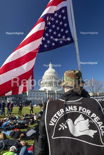 Washington DC USA. Veterans for Peace, Young activists staged a die in during a Funeral for Future on Capitol Hill. They demanded that government addresses the crisis of climate change. It was part of Fridays for Future Global Day of Action. - Jim West - 2019-11-29