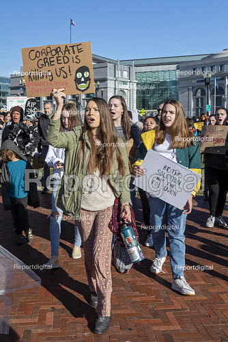 Washington DC USA Corporate Greed Is Killing Us! Funeral for Future protest on Capitol Hill to demand that government addresses the crisis of climate change. It was part of Fridays for Future Global Day of Action. - Jim West - 2019-11-29