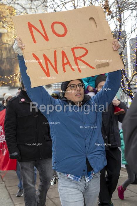 Detroit, Michigan, USA, NO WAR rally against war with Iran, following the assassination of Iranian General Qassem Soleimani - Jim West - 2020-01-04